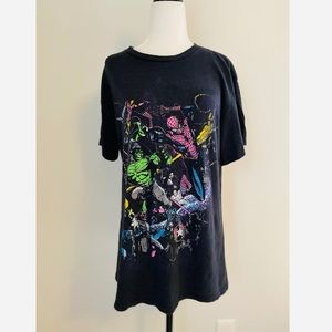 Marvel Black Heroes T-shirt Neon Mens Medium